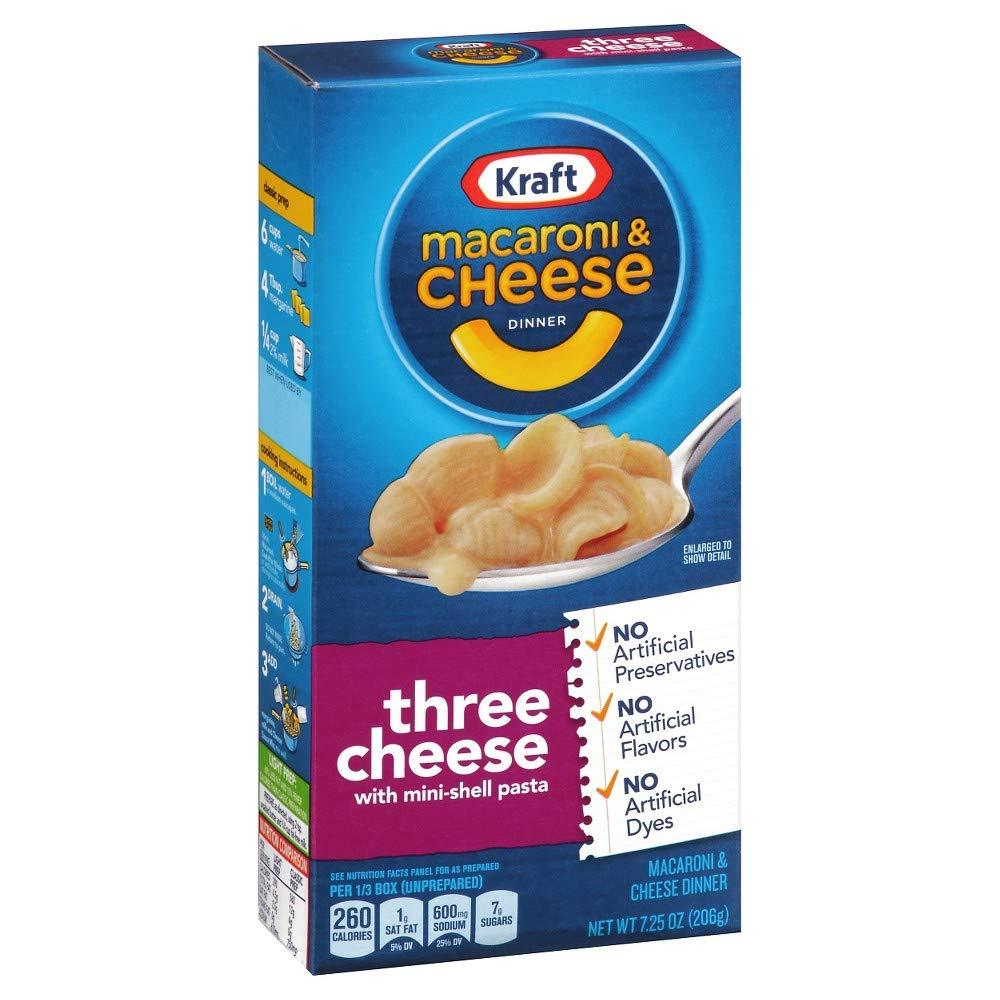 Kraft Macaroni & Cheese, Three Cheese, 7.25 oz