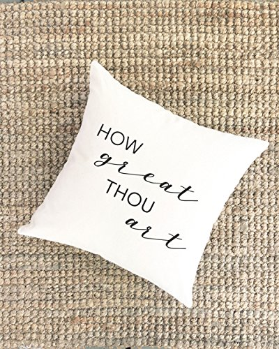 Pillow Cover Song Lyric Then Sings My Soul How Great Thou Art Christian Quote Gift for Her Christian Gift for Mom Uplifting Quote Gift