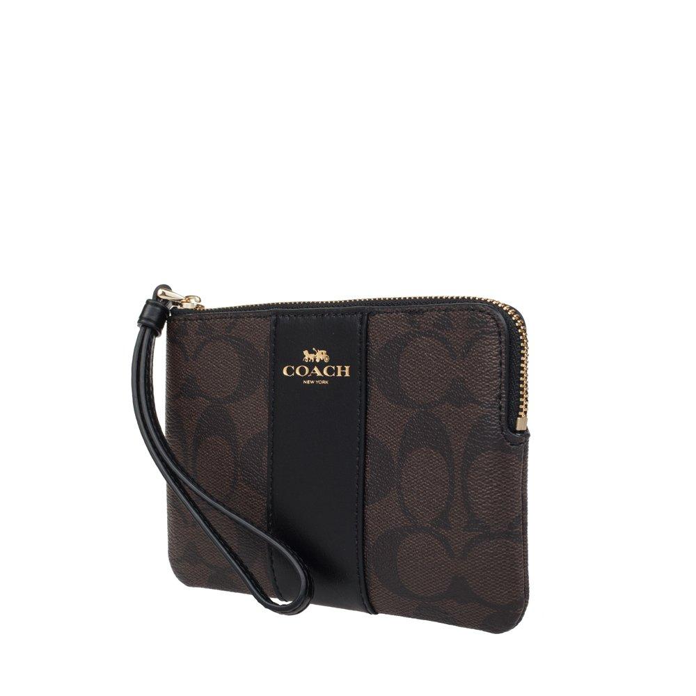 Amazon.com: Coach F58035 Corner Zip Wristlet in Signature Coated Canvas  Brown Black: Clothing