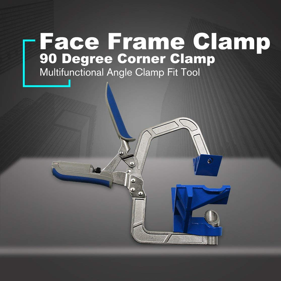 Multifunctional Auto-adjustable 90 Degree Corner Face Frame Clamp Woodworking Right Angle Clip Fit Fix Tool Blue Kaemma