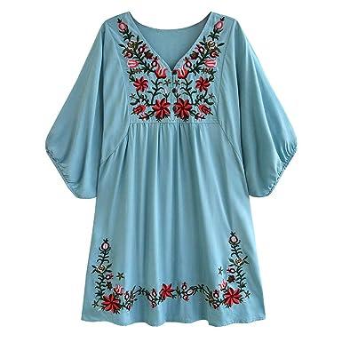 Largo Y Elegante Falda Corta Mujer Verano Mujer Bordado Floral ...