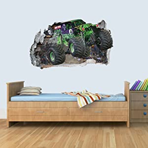 L Vinyl Wall Smashed 3D Art Stickers of Monster Truck Poster Bedroom Boys Girls