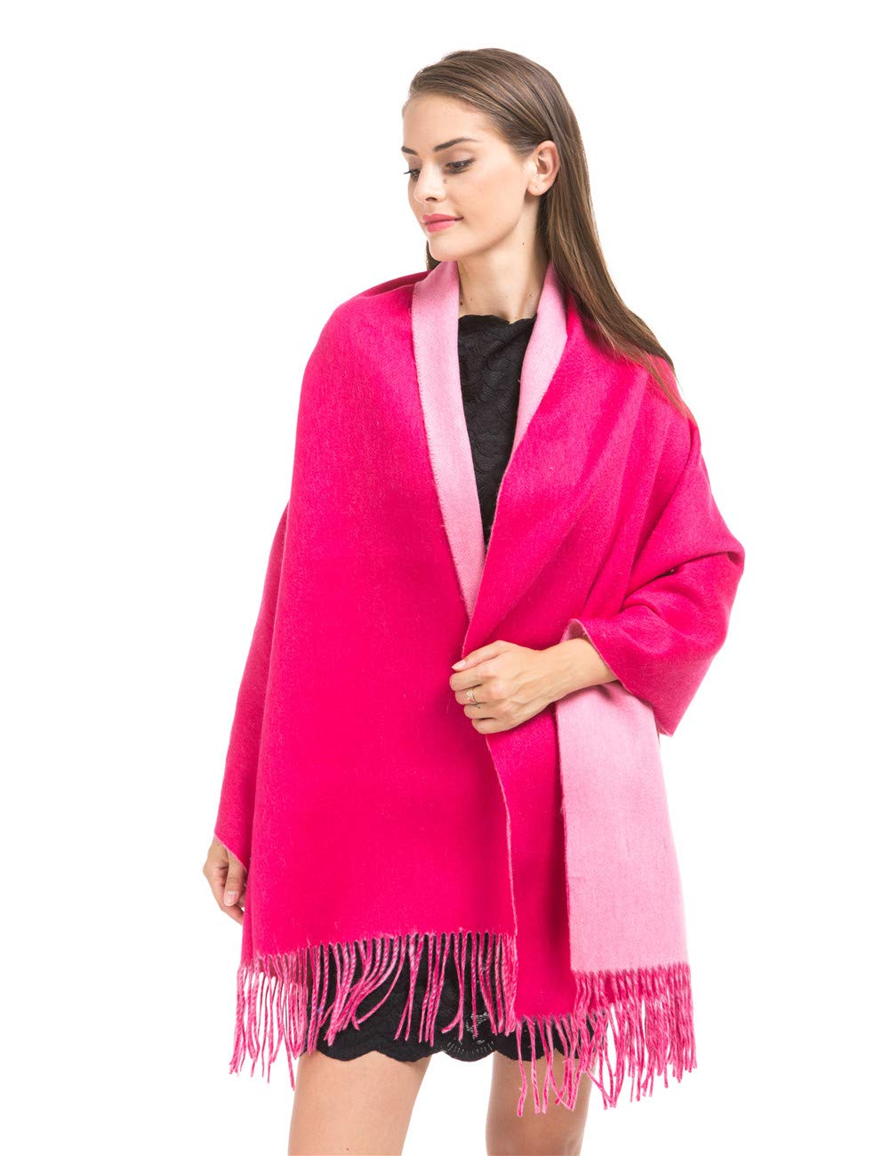 Cashmere Wrap Shawl Stole for Women Winter Extra Large(79'' X 28'') Men Solid Lambswool Pashmina Scarf with Gift Box(Double-Faced Hot Pink)