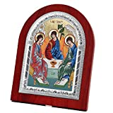 FengMicon Mother Holy Trinity Wooden Back with Metal Trim Frame Christian Icon Catholic Gift