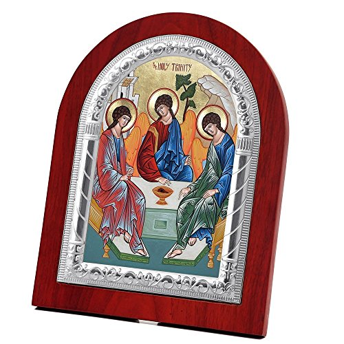FengMicon Mother Holy Trinity Wooden Back with Metal Trim Frame Christian Icon Catholic Gift by FENGMICON