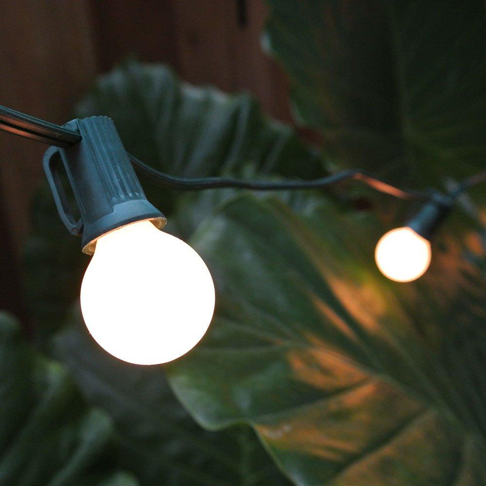Globe String Lights - 100 ft - White Satin G30 Bulbs C7 Green Wire
