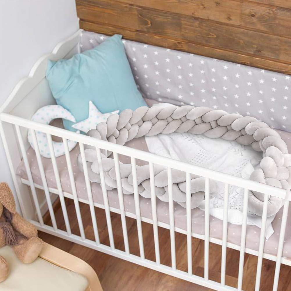 Luchild Braided Crib Bumper Baby Crib Bumper Knotted Braided Plush Nursery for Newborns Bed Sleep Bumper 2.2m Pink White Gray Blue
