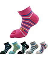 QUANGANG Women's Toe Socks Casual Five Crew Running Athletic Finger 6-Pack