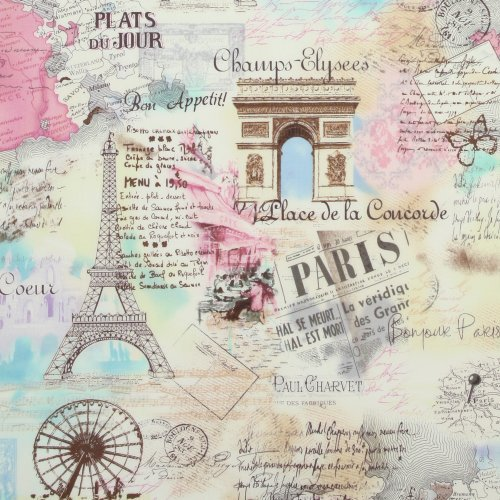 Timeless Treasures April in Paris Pastel, 44-inch (112cm) Wide Cotton Fabric Yardage