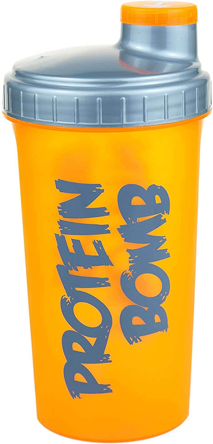 CP Sports - Coctelera para proteínas con colador extraíble, 700 ml, color naranja neón