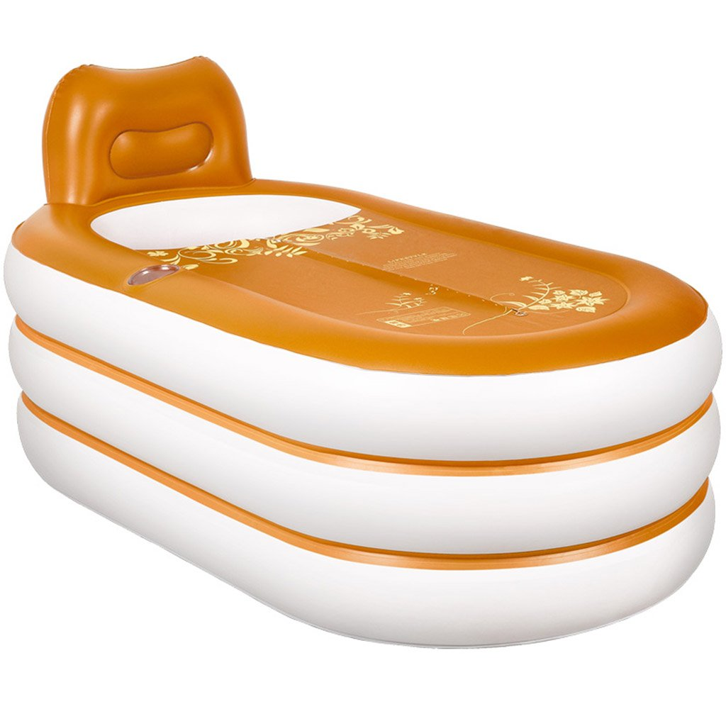 Xiao Hong Home Orange rectangular covered plastic folding inflatable bathtub adult bathing tub 60 33 30 inches
