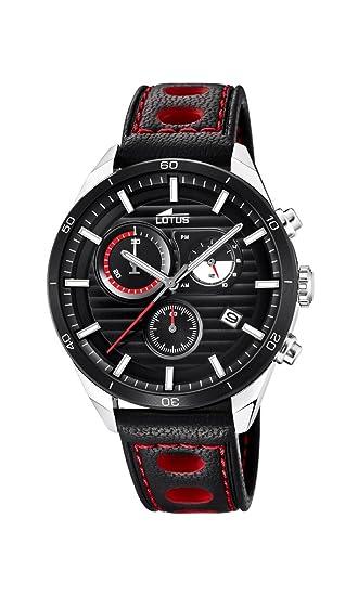 Lotus Watches Reloj Cronógrafo para Hombre de Cuarzo con Correa en Cuero 18531/3: Lotus: Amazon.es: Relojes