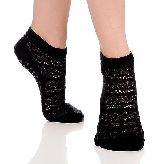 Gran plantas Crochet Sticky antideslizante calcetines de agarre para Yoga, Pilates, Barre - negro - : Amazon.es: Ropa y accesorios