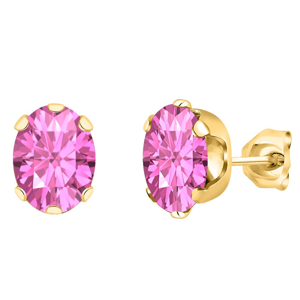 tusakha Solitaire 5x7mm Oval Cut Created Pink Sapphire Stud Earrings For Womens /& Girls