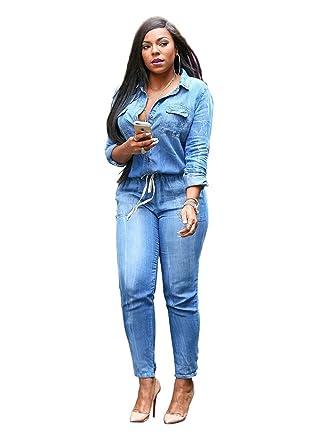 9c0f9415cfce VERTTEE Denim Plain Lapel Lace-Up Full Length Women s Jumpsuit Woman Jeans  Plus Size Skinny