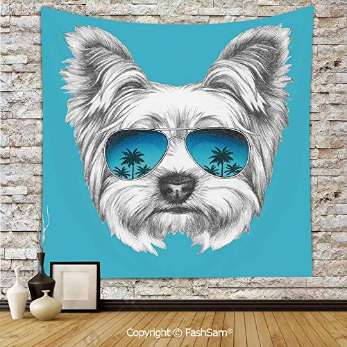 (FashSam Polyester Tapestry Wall Yorkshire Terrier Portrait with Cool Mirror Sunglasses Hand Drawn Cute Animal Art Hanging Printed Home Decor(W51xL59))