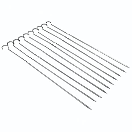 Estink 10 Pcs BBQ Barbecue Grilling Cooking Long Stainless Steel Kebab Flat Skewers Needle