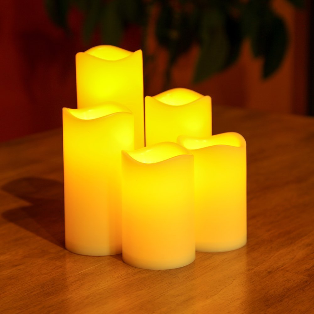 Lily's Home Flameless Flickering LED Resin Waxless Candles, For Indoor or Outdoor Use, Battery Powered with Timer, Safe for Use around Kids and Pets, Ideal for Home and Party Décor, Bisque Color (3'' Diameter, Assorted Heights, Set of 5)