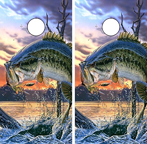 C220 Fish Fishing Bass Cornhole WRAP Wraps Laminated Board Boards Decal Set Decals Vinyl Sticker Stickers Bean Bag Game Vinyl Graphic Tint Image