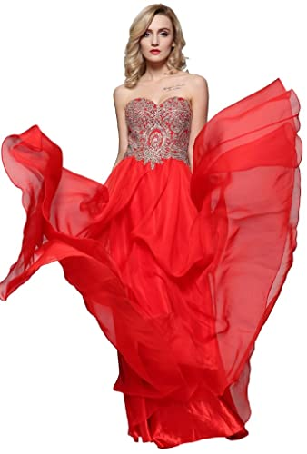 Meier Women's Strapless Embroidery Beaded Prom Formal Dress