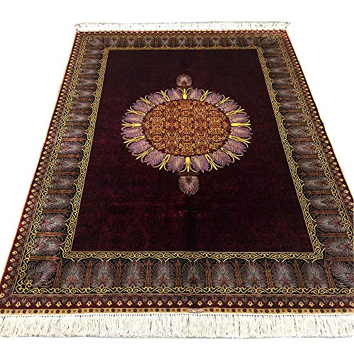 YUCHEN CARPET Silk Rug 4.5'x6.5' Red Handmade Chinese Rug for Living Room 4.5ft by 6.5ft