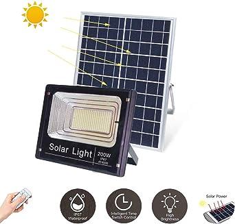 Luz solar LED para jardín Reflector del patio Proyectores IP67 a prueba de agua Cuerpo de aluminio de la lámpara Con control remoto Farola exterior 10W-200W 10-24 horas de iluminación,200W: Amazon.es: Iluminación