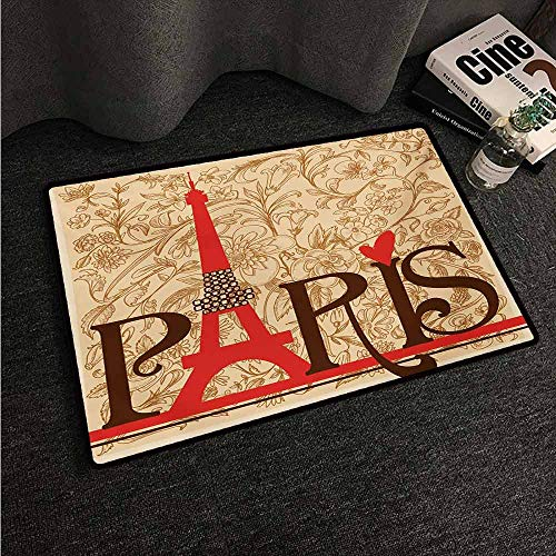 - HCCJLCKS Waterproof Door mat Vintage Paris Vintage Floral French Eiffel Tower City Holiday Stylish Postcards Gifts Suitable for Outdoor and Indoor use W16 xL24 Red Brown Ecru