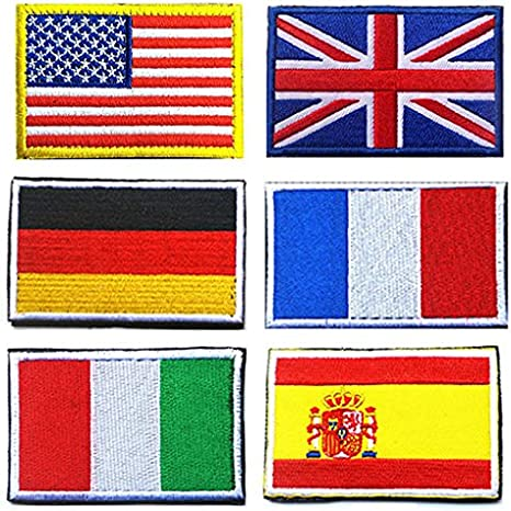 Parche de Velcro bandera nacional, Towee 6 Pack nosotros bandera/bandera de Gran Bretaña/bandera de la bandera de la bandera de Alemania/Francia/Italia/España Bandera táctica parches bordado frontera Velcro parches: Amazon.es: Juguetes y juegos