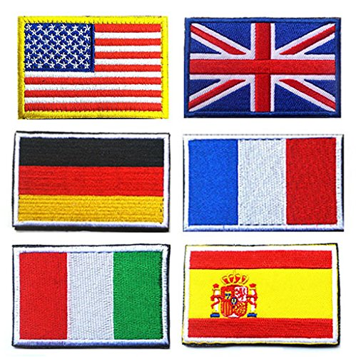 Spain Flag Patch - National Flag Patches, TOWEE 6 Pack US Flag/ Great Britain Flag/ Germany Flag/ France Flag/ Italy Flag/ Spain Flag Tactical Patches Embroidered Border Morale Patches
