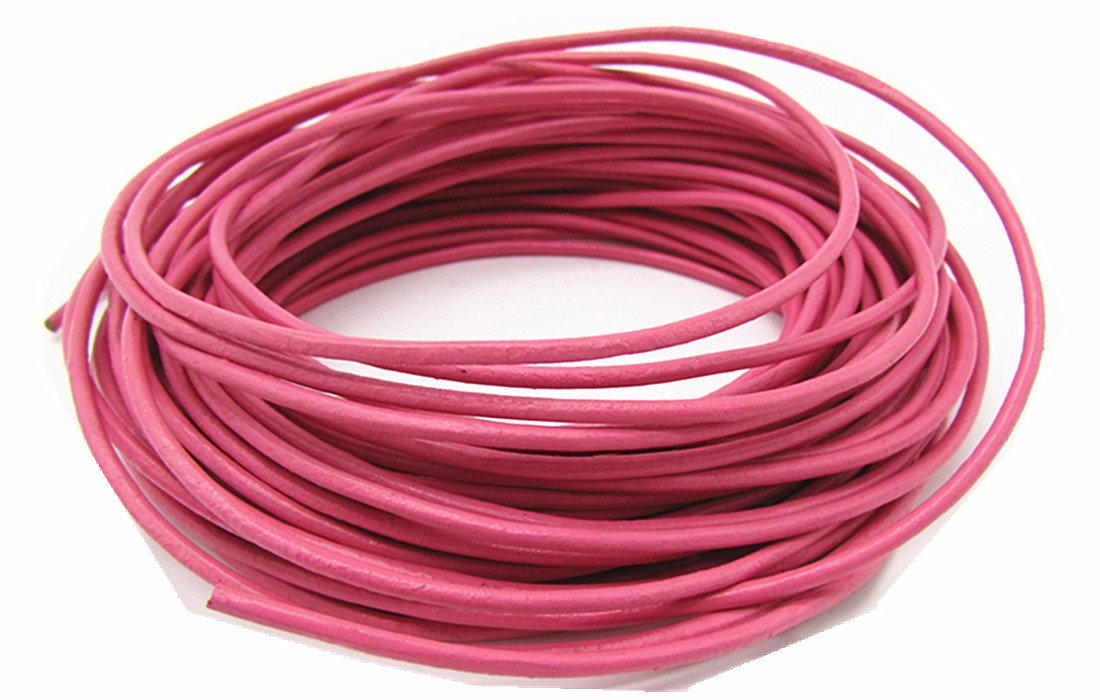 2.0mm Genuine Round Leather Cord Leather Strips for Jewelry Making Bracelet Necklace Beading, 10 Meters/ 11 Yards, (Pink) thingpad