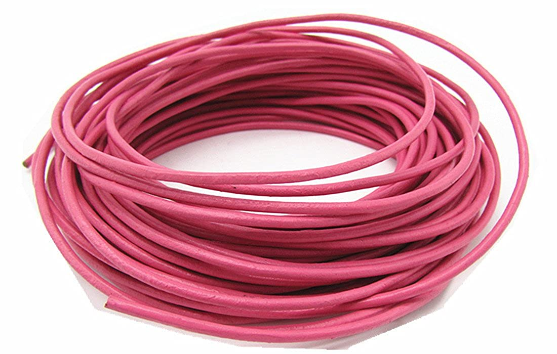 thingpad 2.0mm Genuine Round Leather Cord for Bracelet Neckacle Beading 10 Meter