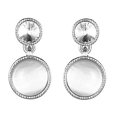 9c3ed1abf3d5 KNSAM - Pendientes Plata Mujer Redondo Opal Cristal Bañado con Plata 925  Aretes para Novias  Amazon.es  Joyería