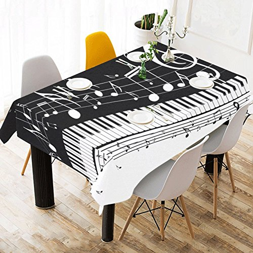 (INTERESTPRINT Tablecloth Abstract Music Piano Keys Home Decor 60 X 90 Inch, Muscial Iron Notes Modern Fabric Desk Cover Table Cloth for Dining Room Kitchen Party Decoration )