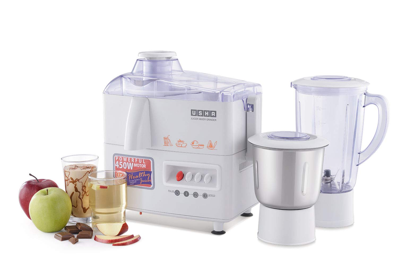 Usha 3345 450-Watt Juicer Mixer Grinder with 2 Jars (White)
