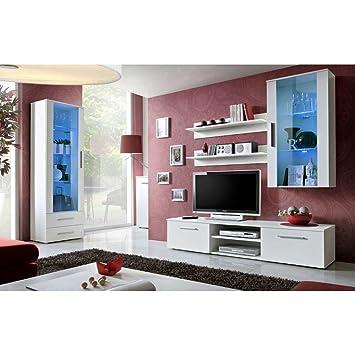 Schon JUSTyou GULINO F Wohnzimmerset Wohnzimmermöbel Wohnwand (HxBxT): 190x240x45  Cm Weiß Matt / Weiß