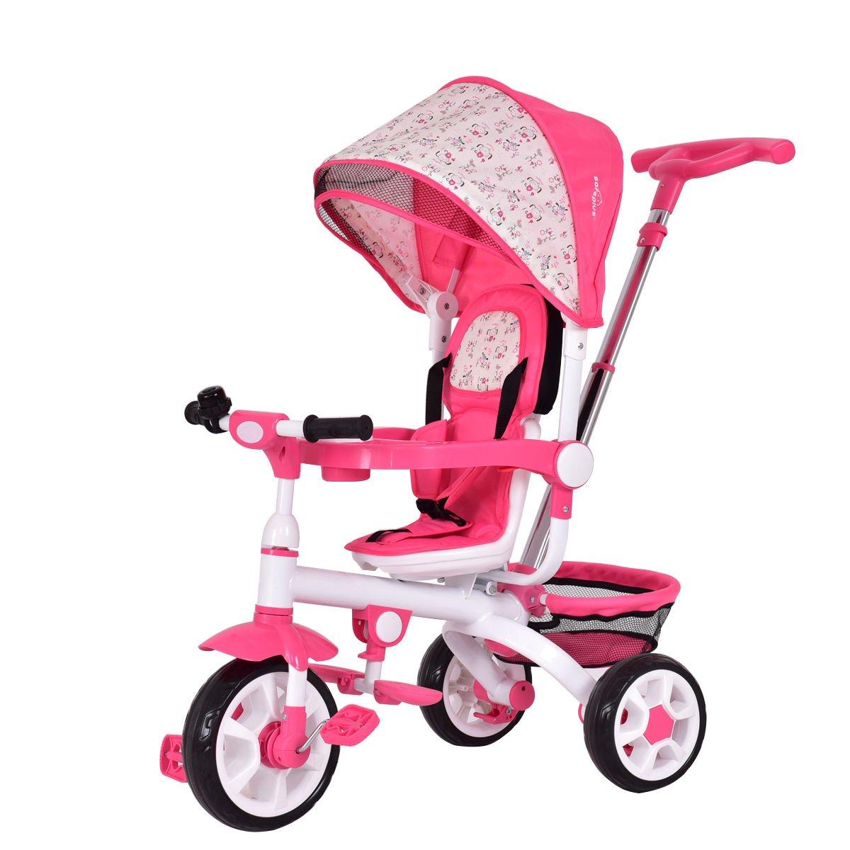 Costzon 4-in-1 Kids Tricycle Steer Stroller Toy Bike w/Canopy Basket (Pink)