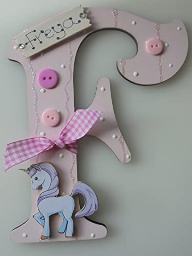 unicorn wooden letter any letter with any name available