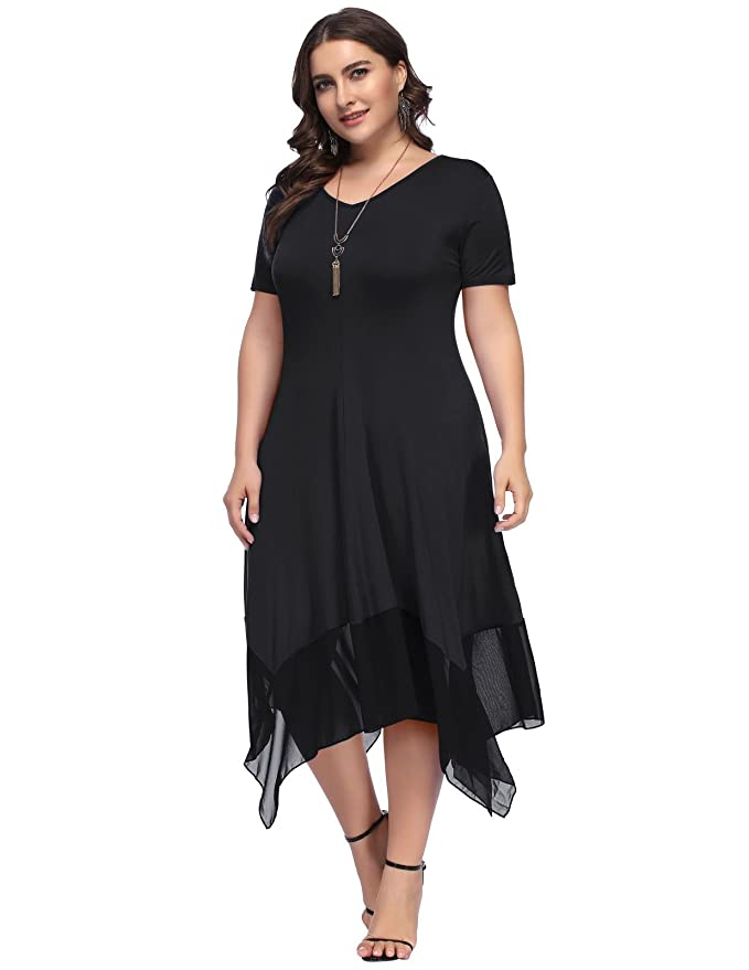 Great Gatsby Dress – Great Gatsby Dresses for Sale Hanna Nikole Women Plus Size Chiffon Irregular Hem Tunic Short Long Sleeve Dress $29.99 AT vintagedancer.com