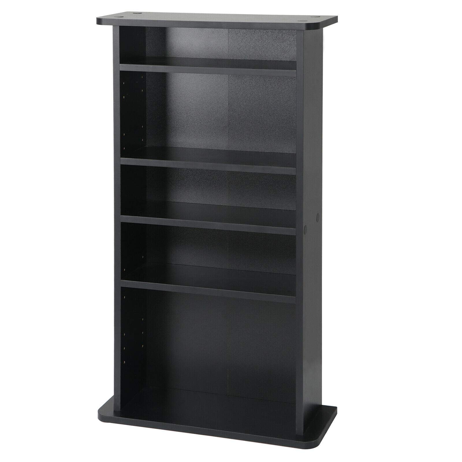 Dj_siphraya Multimedia Storage Cabinet Luxury Style DVD Rack Book Shelf Organizer Stand Black Made of Particle Board Overall Dimensions: 19 x 36 x 7 inch Durable. Always be Stable.
