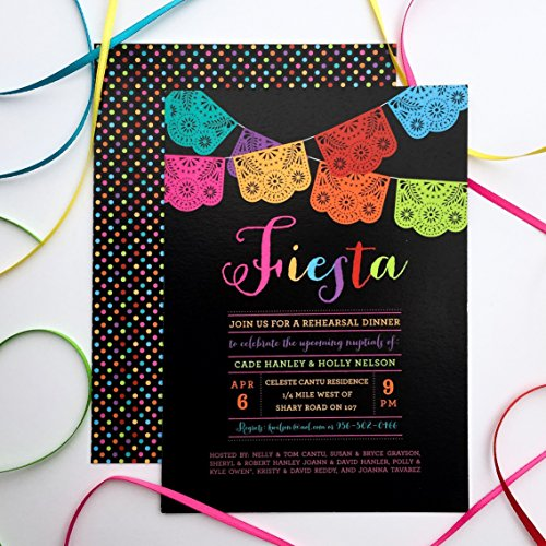 Papel Picado Rehearsal Dinner or Couples Shower Invitations