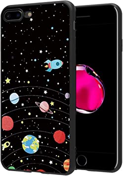 ZhuoFan Funda iPhone 8 Plus, iPhone 7 Plus Cárcasa Silicona Negra con Dibujos Diseño Suave TPU Antigolpes de Protector Piel Case Fundas para Movil Apple iPhone8Plus / iPhone7Plus, Cielo de Estrellas: Amazon.es: Electrónica
