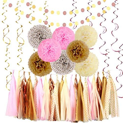 LyButty 42 Pcs Glitter Gold Pink Khaki Cream Tissue Paper Pom Poms Flower Tissue Paper Hanging Tassels Polka Dot Paper Garlands Hanging Swirl for Baby Shower Bridal Shower Wedding Party Decorations