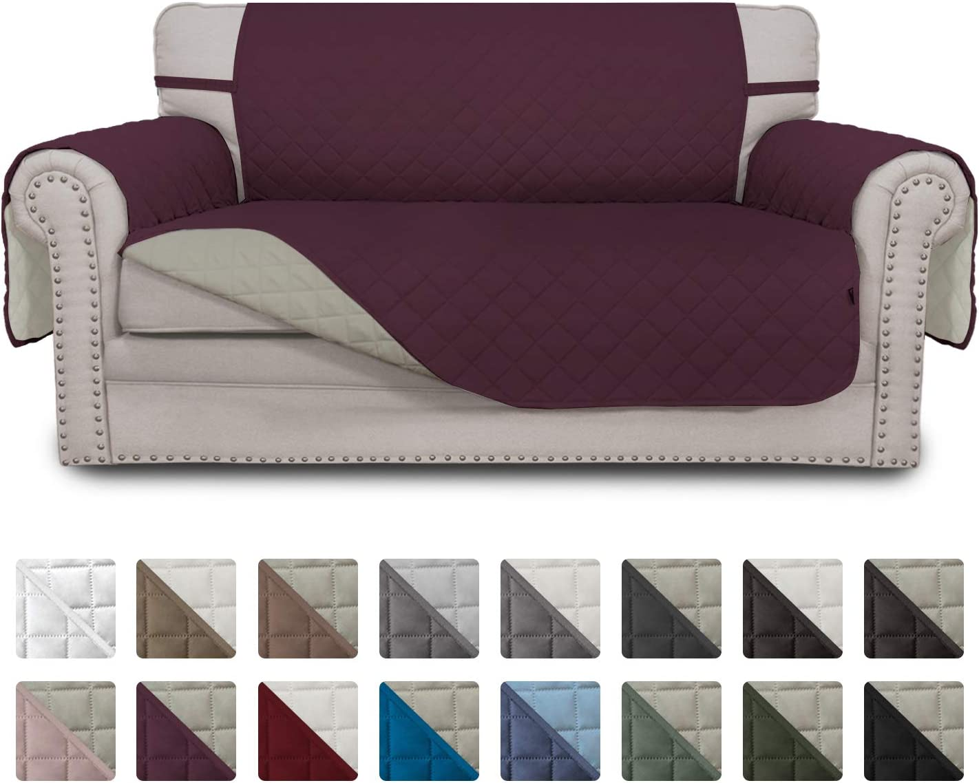 Easy-Going Sofa Slipcover Reversible Loveseat Cover Water Resistant Couch Cover Furniture Protector with Elastic Straps for Pets Kids Children Dog Cat(Loveseat,Wine/Beige)