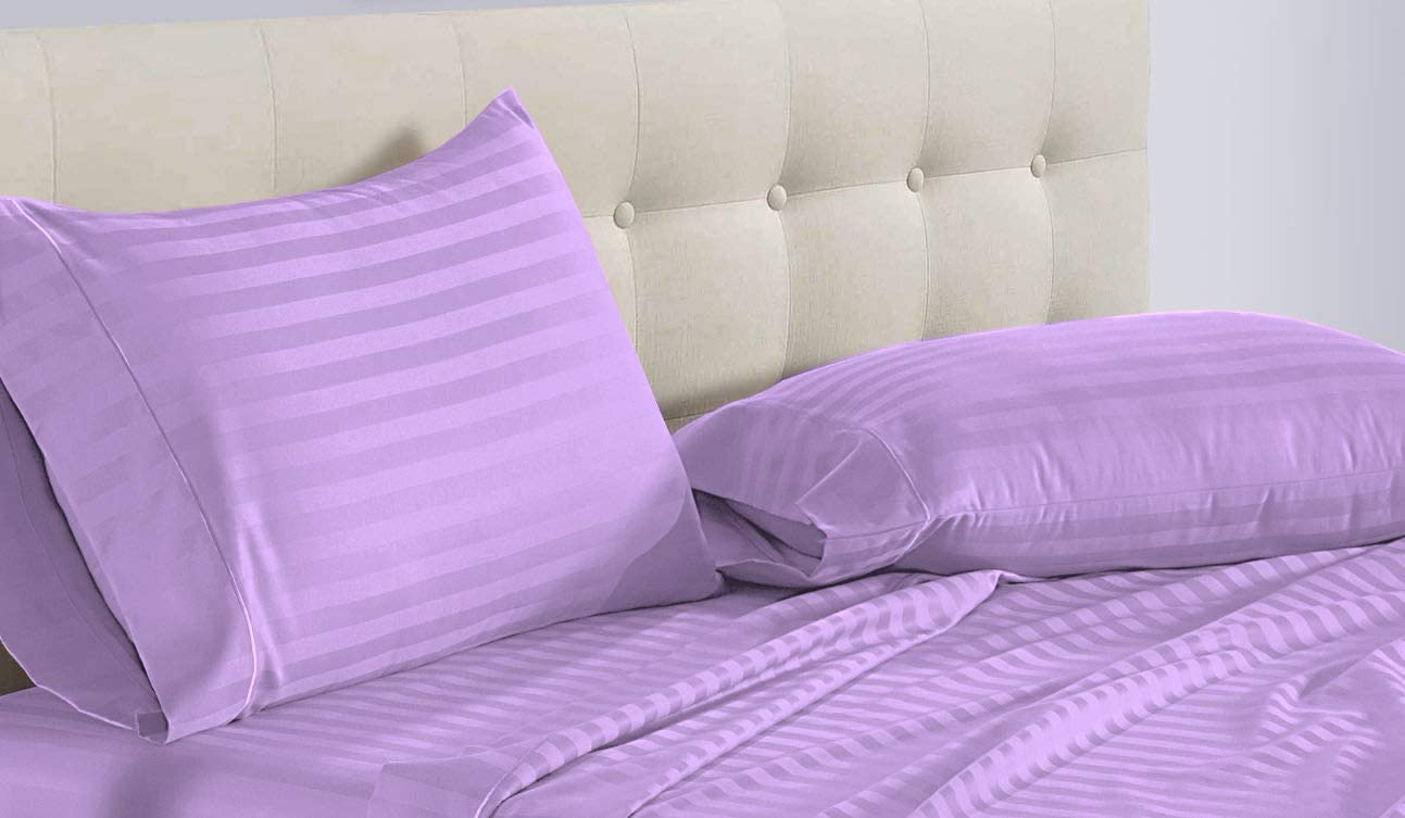 ADDY HOME FASHIONS International Sheets 800 Thread Count Luxurious 4 Piece Queen Size Lavender Stripe Bed Sheet Set, 100% Egyptian Cotton, 12 Inch Deep Pocket