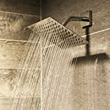 Aqua Elements Ultra Thin Rainfall High Pressure Shower Head For Bathroom - Stainless Steel - 8 inch Square - Adjustable - Tools-free Installation