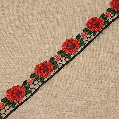 Embroidered Flowers Trim Ribbon Garment DIY Sewing Handmade Material Ribbon (Color - #2)