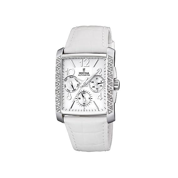 FESTINA F16524/1 - Reloj de Mujer de Cuarzo, Correa de Piel Color Blanco: Festina: Amazon.es: Relojes