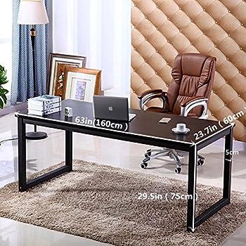 Home Office Desk, 63in Writing Desks Large Study Computer Table Workstation,Black Wooden Top+Black Metal Leg