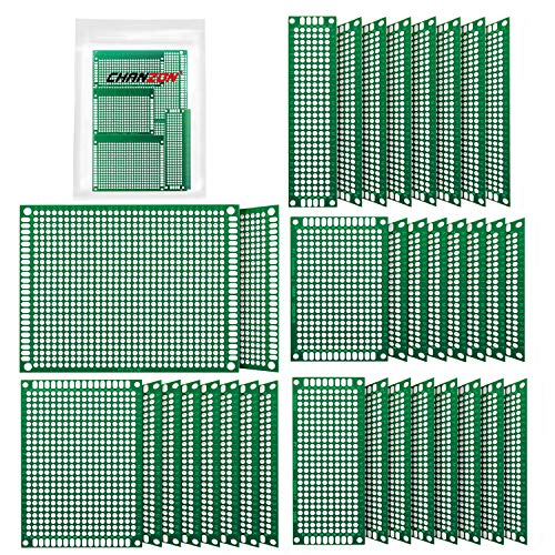 (Chanzon 34 Pcs Double Sided PCB Board Tinned Through Holes (5 Sizes 2X8 3X7 4X6 5X7 7x9) Prototype Kit FR4 Printed Universal Circuit Perfboard for DIY Soldering Project Compatible with)