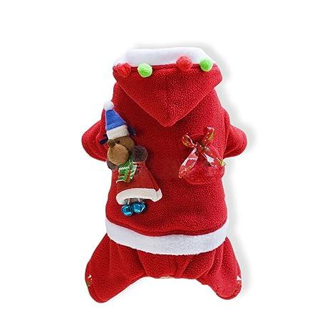 PETCUTE Trajes de Navidad para Perros Ropa navideña para Perros Traje Papa Noel para Perro